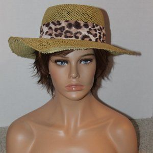 Accessories - Straw Summer Hat with Chiffon Animal Print Scarf
